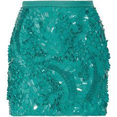 Antonio Berardi Pailette-embellished crepe mini skirt (€815) ❤ liked on Polyvore featuring skirts, mini skirts, bottoms, saias, faldas, mint, embellished mini skirt, embellished skirts, mint skirts and foldover skirts