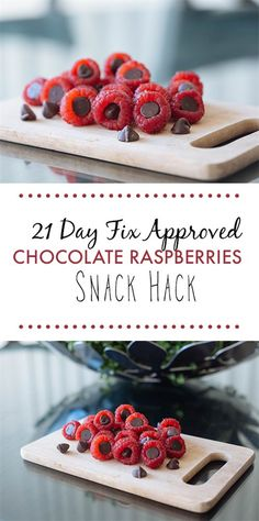 Looking for a quick sweet treat? Check out this dessert snack hack.  Stuff dark chocolate chips in raspberries to satisfy your sweet tooth!