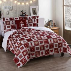 Vcny Mink Holiday Comforter Set, Red