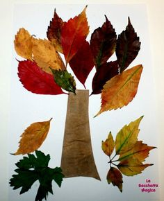 Albero con le foglie, lavoretti per i bambini Leaf Crafts, Diy And Crafts, Arts And Crafts, Toddler Learning Activities, Educational Activities, Fall Crafts For Kids, Art For Kids, 3d Craft, Earth Day