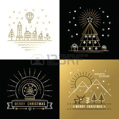 Illustration of Merry Christmas golden outline label set with winter city, xmas tree, snow globe, and reindeer elements. Ideal for holiday invitation or greeting card. vector art, clipart and stock vectors. Merry Christmas, Christmas Poster, Christmas Love, E Cards, Xmas Cards, Holiday Cards, Company Christmas Cards, Christmas Graphic Design, Free Svg