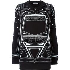 Givenchy geometric print sweatshirt (€745) ❤ liked on Polyvore featuring tops, hoodies, sweatshirts, black, crew neck sweatshirts, loose long sleeve tops, long sleeve sweatshirt, geometric sweatshirt and crew-neck sweatshirts