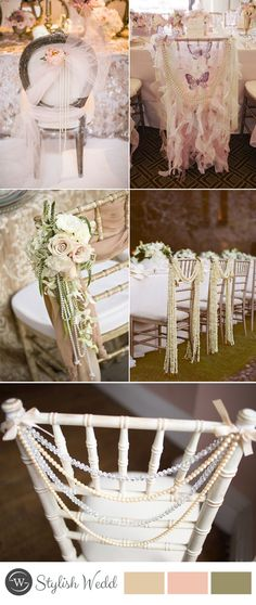 vintage wedding chair decor with pearl