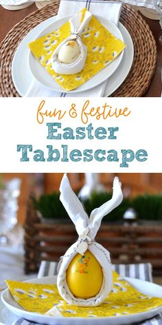 Set the scene for a fun and festive celebration with this Easter tablescape. These simple ideas for a Spring centerpiece, paper table runner, and bunny ear folded napkins are budget friendly and look great! Diy Projects Cans, Paper Table, Make A Table, Easter Table Decorations, Jar Centerpieces, Easter Celebration, Easter Dinner, Vintage Easter, Dish Towels