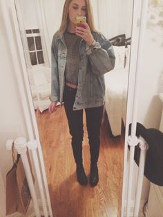 hi babes :-) h&m plaid pants, topshop chelsea boots, brandy killin it shirt and jean jacket, same old xx