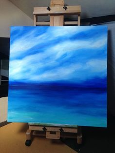 """ARTFINDER: """"Ocean Solitude"""" 100x100 by Lucy Moore - """"Ocean Solitude""""   A Peaceful seascape with nothing but the sound of the ocean in the air.   **I WILL SHIP GLOBALLY PLEASE CONTACT ME FOR AN ACCURATE QUO..."""