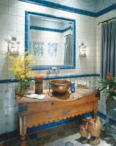 Vintage Bathroom Decor Photos | an exceptional antique table is fitted with a standing brass bowl sink ...