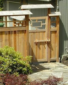 Japanese Garden Theme For A Getaway In Your Own Backyard Japanese Fence, Japanese House, Japanese Style, Japanese Gardens, Wooden Garden Gate, Garden Fencing, Garden Shrubs, Fence Styles, Garden Styles