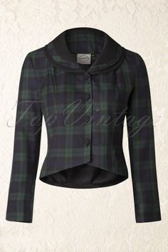Banned 40s Cecile Check Jacket in Green