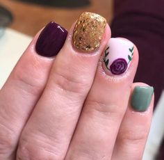 Mix and match floral fall nails Great Nails, Love Nails, Fun Nails, Hard Gel Nails, Gelish Nails, Shellac, Manicure E Pedicure, Gel Nail Designs, Purple Nails
