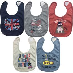 Lyrics by Lennon and McCartney 5 Pack Side Snap Bibs - OS