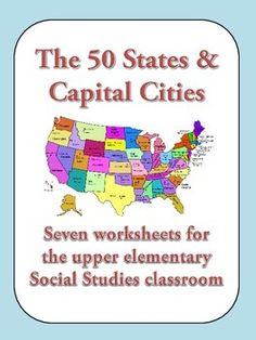 50 States & Capital Cities - Worksheets for upper elementary- substitute lesson! These worksheets are good tools for teaching students about the fifty states and their capital cities. In this packet, you will find 7 worksheets to be used for introducing the states and capitals, reinforcing a lesson, or as a series of substitute lessons.