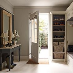 this immaculate new-build home in rural Hertfordshire Country style boot room Style At Home, Country Style Homes, Modern Country Style, Country Houses, French Country, Entrance Hall Decor, House Entrance, Hall Decorations, Entrance Halls