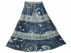 Amazon.com: Womens Maxi Skirt Blue Grey Ari Embroiderd Gypsy Long Skirt: Clothing