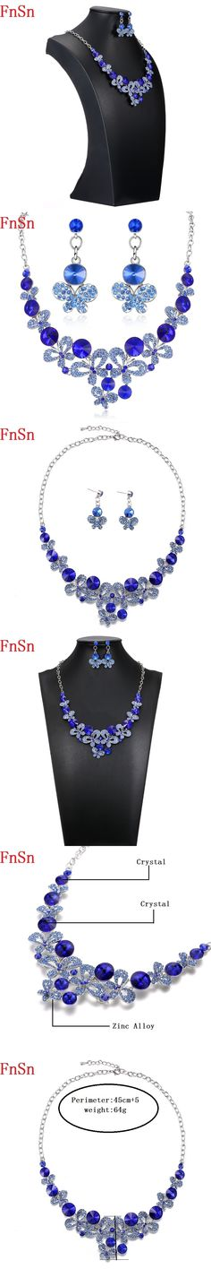 FnSn2017 New Fashion Butterfly Rhinestone Wedding Jewelry Sets for Women Colorful Crystal Prom Party Necklaces Earring Gift S127