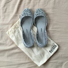 Melissa campana jelly shoes Brand new, worn only once inside of the apartment original Melissa shoes. Perfect condition. Melissa Shoes Flats & Loafers