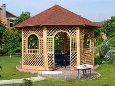 Pergola Kits Attached To House Garage Pergola, Wooden Pergola, Pergola Patio, Pergola Plans, Pergola Kits, Backyard, Gazebo Ideas, Small Gazebo, Bali Blinds