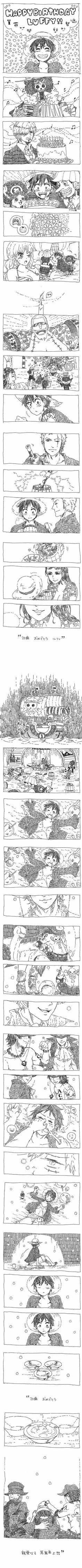 Happy Birthday Luffy, text, comic, smiling, sad, Thousand Sunny, Ace, Sabo, brothers, Luffy, ASL, Straw Hat Crew, Mugiwara, Luffy, Nami, Zoro, Usopp, Sanji, Chopper, Robin, Franky, Brook; One Piece