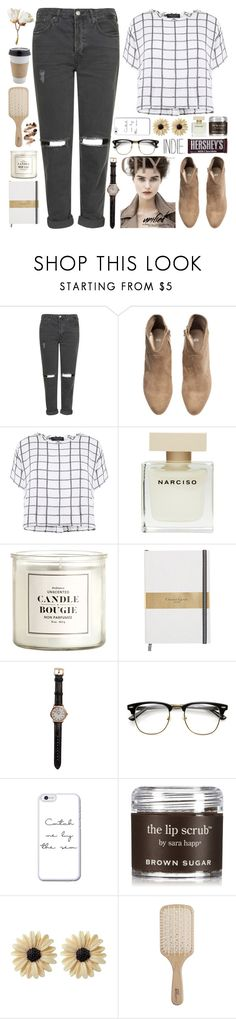 """""""Nerd."""" by indie-by-heart ❤ liked on Polyvore featuring Topshop, H&M, Myne, Narciso Rodriguez, Shinola, Sara Happ, Rock 'N Rose, Philip Kingsley and Hershey's"""
