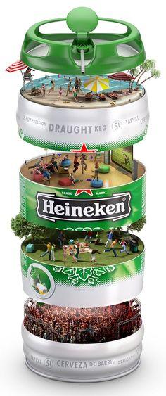 Heineken-Fass von Ricardo Tohme, via Behance Crea Design, Ad Design, Creative Design, Identity Design, Exhibit Design, Identity Branding, Booth Design, Corporate Identity, Visual Identity