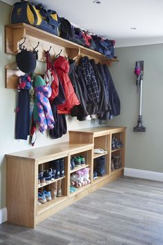 hallway storage solution or bootroom for storing coats, shoes etc by rencraft .with these boot room ideas Cloakroom Storage, Hallway Storage Cabinet, Mudroom Storage Bench, Laundry Room Storage, Laundry Room Design, Cupboard Storage, Garage Storage, Vacuum Storage, Cloakroom Ideas