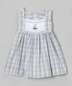 Another great find on #zulily! Blue Stripe Sailboat Dress - Infant, Toddler & Girls #zulilyfinds