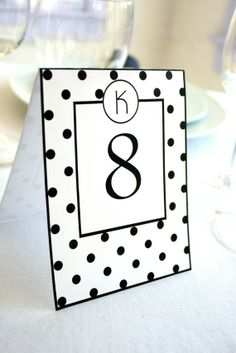 Polka Dot Printable Table Numbers Many Color by ThePoshEvent, $5.00