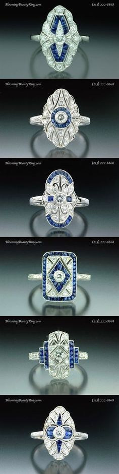 Just a few of the beautiful Antique Inspired Ring Designs at BloomingBeautyRing.com.  Although we are showing Blue Sapphire accents in these pieces, you can choose any color gemstone that you want.  The rings are also available in White Gold or Platinum.  (213) 222-8868  #AntiqueRings #BlueSapphires #ArtDeco