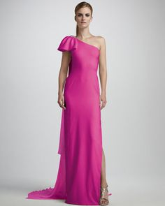One-Shoulder Column Gown by Notte by Marchesa at Neiman Marcus.
