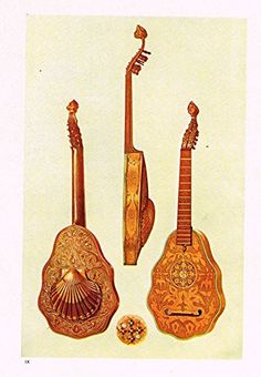 "Hipkins Musical Instruments - ""Lute"" - Stipple Chromolithograph - 1923"