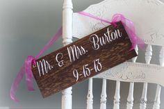 LAST NAME Wedding Sign with Date Mr and Mrs by SweetNCCollective, $25.00