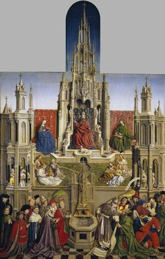 ❤ - JAN VAN EYCK (1395 -1441) - The Fountain of Grace and the Triumph of the Church Over the Synagogue - 1430 . Museo Nacional Del Prado, Madrid.