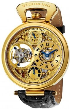Stuhrling Original 127D.333531 Sovereign Goldtone Tourbillon Automatic Skeleton Watch For Men