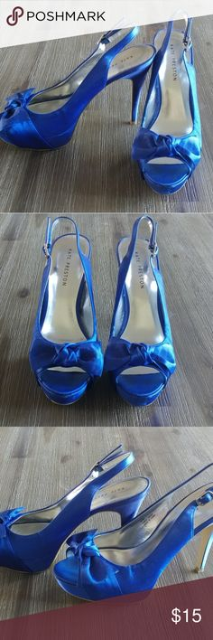 Kate Preston heels Size 9.5, royal blue Kate Preston heels. Only worn once for a wedding. Cute bow on peep toe heels! Kate Preston Shoes Heels