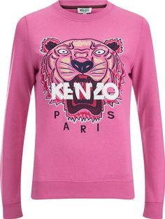 KENZO Women's Tiger Embroidered Sweatshirt Bergonia. Pink, tiger sweatshirt from KENZO. Crafted from pure cotton, the sweatshirt comprises a crew neckline, long sleeves and a curved hem, all featuring ribbed trims. The sweater is complete with an embroidered tiger logo to the front, finished with KENZO Paris branding. #Kenzo #Pink #Sweatshirts #Hoodies #Coggles #Women #fashion #obsessory #fashion #lifestyle #style #myobsession