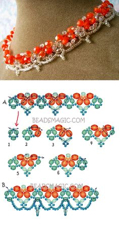 Free pattern for beaded necklace Orangina | Beads Magic seed beads 11/0 faceted crystal beads 3 mm faceted crystal beads 4 -5 mm faceted crystal beads 6 – 8 mm