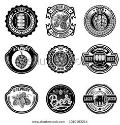Set of vintage beer labels. Design elements for logo, label, emblem, sign, menu. Beer Brewery, Lager Beer, Carbs In Alcohol, Beer Label Design, Premium Beer, Badge Template, Badge Design, Logo Design, Sales Image