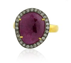14kt Gold Ruby and Diamond Ring  by jackjewelryinc on Etsy