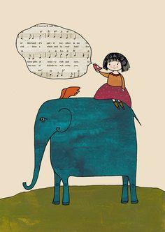 Girl and the Elephant. $15.00, via Etsy.