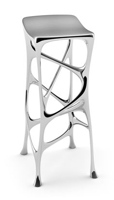 SEROUS BAR STOOL Serous (meaning fluid like), is a modern piece of furniture art defined by its infinite geometrical lines, modern aesthetics, and fluid design.