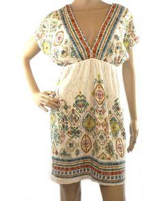 Maurices Multi-Color Geometric Print Deep V-Neck S/s Dress Size L Cotton Blend #Maurices #Sundress #Casual
