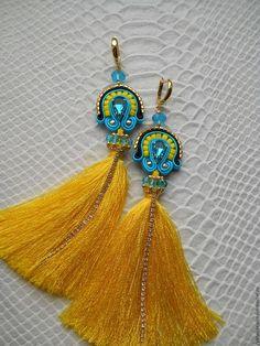 Soutache Earrings, Tassel Earrings, Beaded Earrings, Tassel Jewelry, Beaded Jewelry, Handmade Jewelry, Beaded Embroidery, Hand Embroidery, Queens Jewels