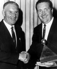 Bill Nicholson presents Jock Stein with his 1967 Scottish manager of the year award