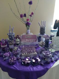 Ideas For Wedding Table Settings Purple Candy Buffet Purple Dessert Tables, Purple Candy Buffet, Purple Desserts, Wedding Candy Table, Card Box Wedding, Wedding Desserts, Wedding Decorations, Blue Sweets, Purple Birthday