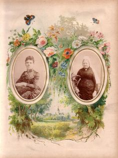 'Summer' page from a Victorian photograph album. The carte de visite size photographs are of two standing ladies, one elderly and one younge...
