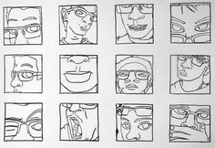 Self-Portraits: Line Thumbnails could make a good lino priint project by jamie_1