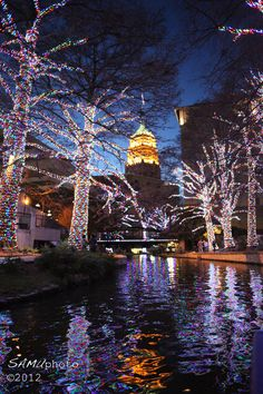 San Antonio river at night, Texas (cause you were born in San Antonio)