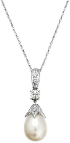 Arabella Bridal Cultured Freshwater Pearl (10 mm) and Swarovski Zirconia (1 ct. t.w.) Pendant Necklace in Sterling Silver