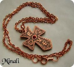 Love & Faith - Copper Love Cross Celtic Bohemian Necklace - product image