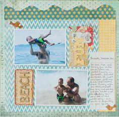 12×12 Beach Fun Layout from Francine Clouden using Patterns of Class Kit    little black dress kit club scrapbook 12x12 layout